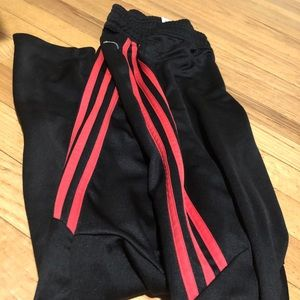 adidas joggers, red strips